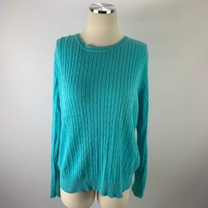 Kim Rogers Large Cable Knit Sweater Blue